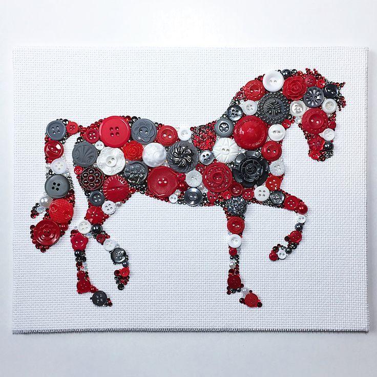 Made to Oder Horse Button Art Custom Button Artwork Horse