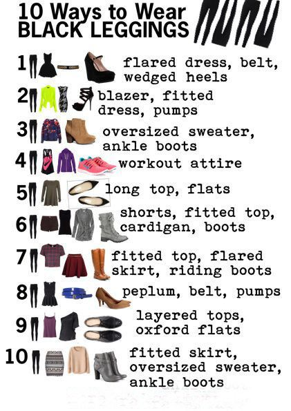 One pair of leggings worn ten ways. | 41 Insanely Helpful Style Charts Every Woman Needs Right Now