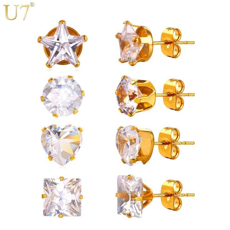 Zirconia Stud Earring Ladies Fashion Jewelry 4 Pairs/Set //Price: $10.95 & FREE Shipping //     #stylish