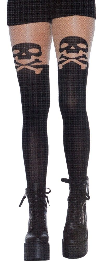 BLACK SKULL AND CROSSBONES OPAQUE STOCKINGS WITH SHEER THIGH $12.00 #stockings #skull #goth