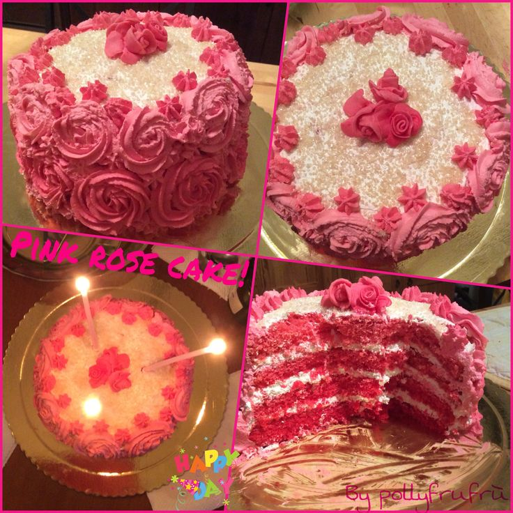 Pink rose cake for my birthday!