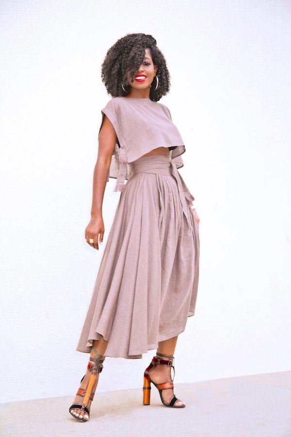 Style Pantry   Boxy Crop Top + Wrap Midi Skirt