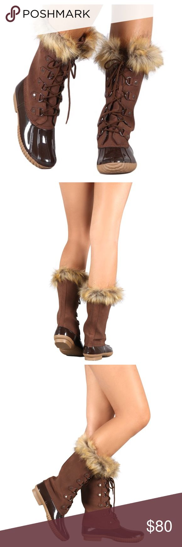 ✨HP✨ Arrives Soon- Fur Lace Up Duck Boots, Bootie Best In shoes and boots Host Pick! Fabulous brown fur lace up duck boots. So chic for fall/winter. Vegan fur. Grooves on sole. Beautiful navy with a tan contrast! Winter boots. Rain boots. Snow boots. Brand new. Price is firm unless bundled. тнαик уσυ  Shoes Winter & Rain Boots