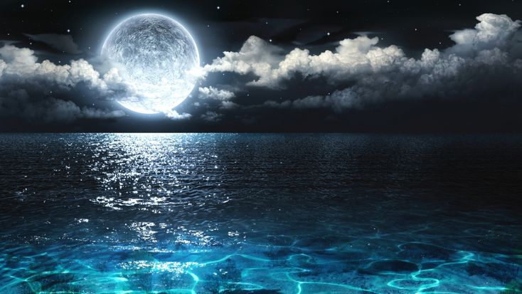 Download nature moon ocean night hdq wallpaper high - 10k wallpaper nature ...