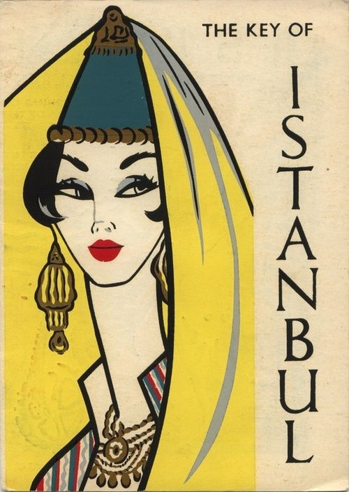 1960s Istanbul travel poster illustration.