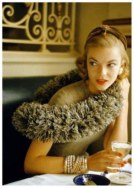 """Lois Gunas Wideman in """"Caterpillar"""" fashions, photo by Nina Leen, 1954"""