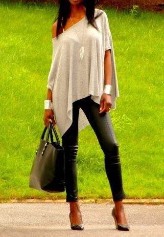 leather leggings and an off the shoulder shirt
