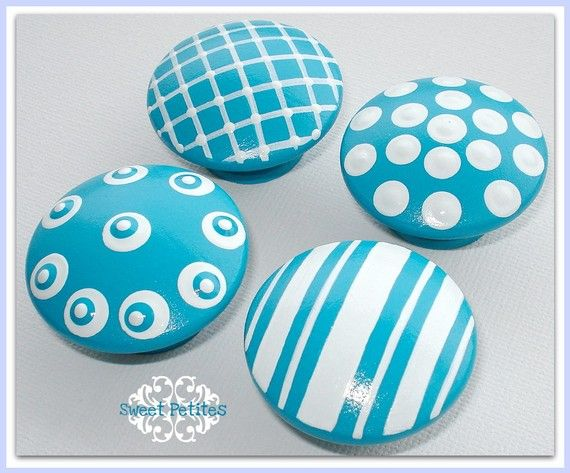 Hand Painted Knobs - Dresser Drawer Knobs - Turquoise Textures - Polka Dots - Stripes -  sc 1 st  Pinterest : turquoise cabinet pulls - Cheerinfomania.Com