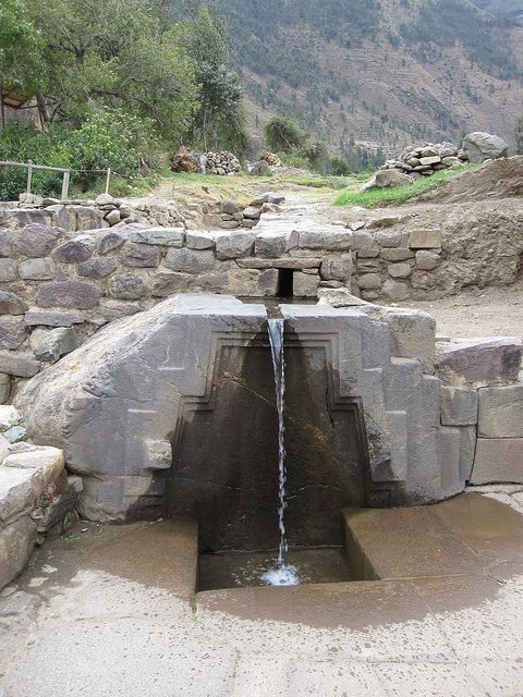 Princess Baths at Ollantaytambo, an Inca Empire town in Peru. Ollantaytambo is a town on the way to Machu Picchu. It has Inca Ruins such as this.