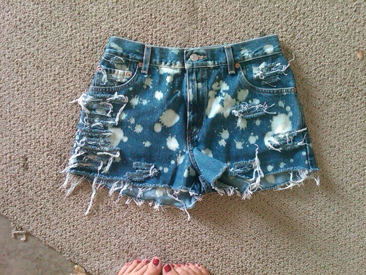 "DIY :) Originally ""Mom"" jeans now high waisted shorts with bleached spots."