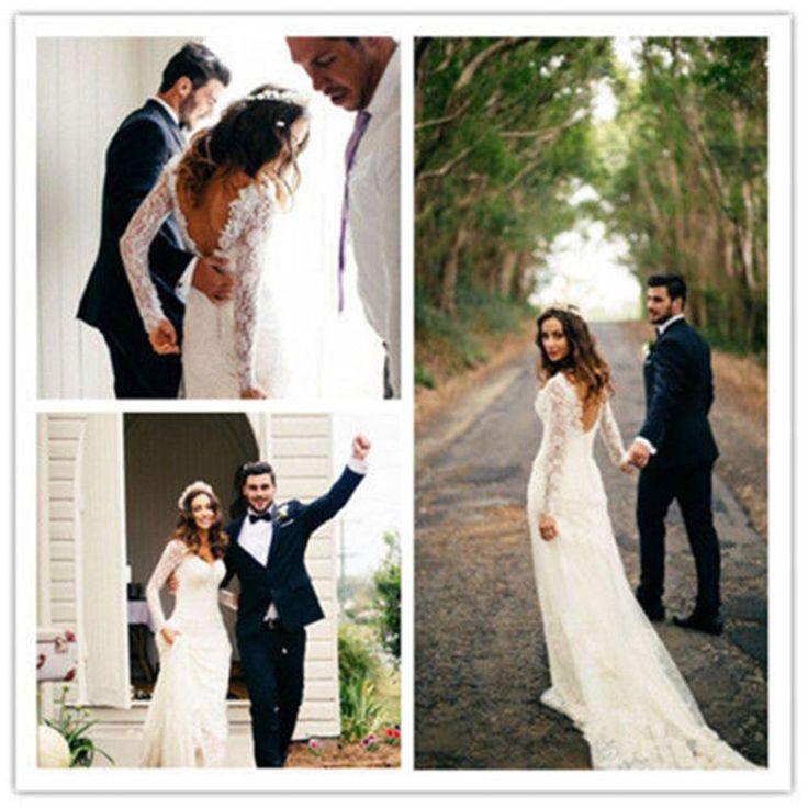 Neu Weiß Elfenbein Langarm Spitze Rückenfrei Brautkleid Hochzeitskleid Ballkleid
