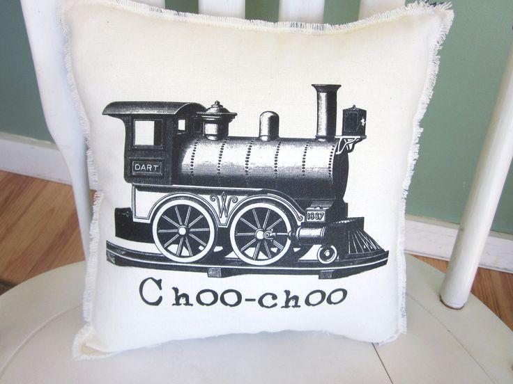Train pillow, shabby chic, farmhouse decor, handmade pillow, choo choo train, baby pillow, nursery, boys pillow. $18.00, via Etsy.