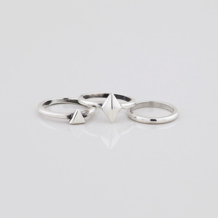 #miglio Geometric Ring Set - Set of three contemporary midi stacking rings in Sterling Silver RR202
