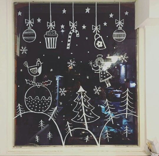 Boutiquizing Inspo: This adorable window art celebrates Christmas deserts and candy. The follow-up presumably celebrates the virtues of oversized sweaters and winter coats.  Trendwatch: Single colour  White  Illustrations  Window art  Christmas & Winter. Artwork by Katy Halford Illustrations