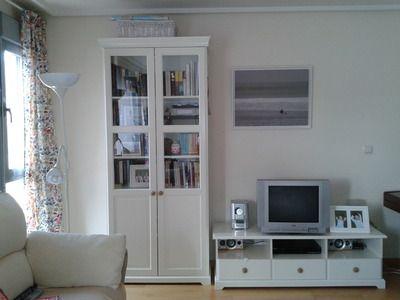 Mueble tv libreria liatorp blanco mueble tele for Mueble tv ikea
