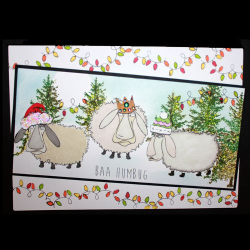 This is the Quirky Baa-Humbug set designed by Sharon Bennett for Hobby Art. Clear set contains 16 Clear stamps. This Stunning card was made by Bernie Simmons
