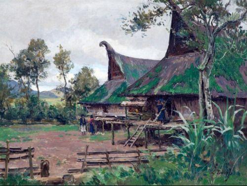 Carel Lodewijk Dake (1886-1946) - Minangkabau village, Sumatra, Indonesia. Oil on canvas.