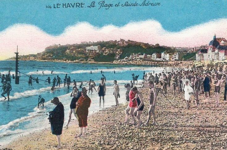 Saint-Adresse plage, seaside, Normandy, postcard, vintage
