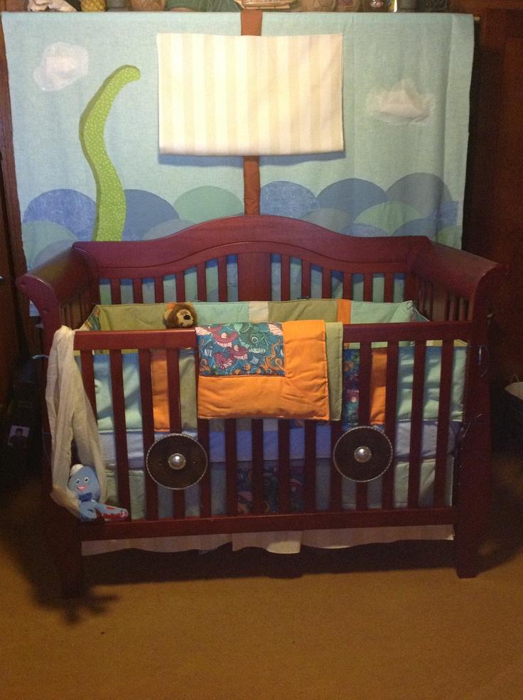 Logan's viking ship crib and tapestry mural All things