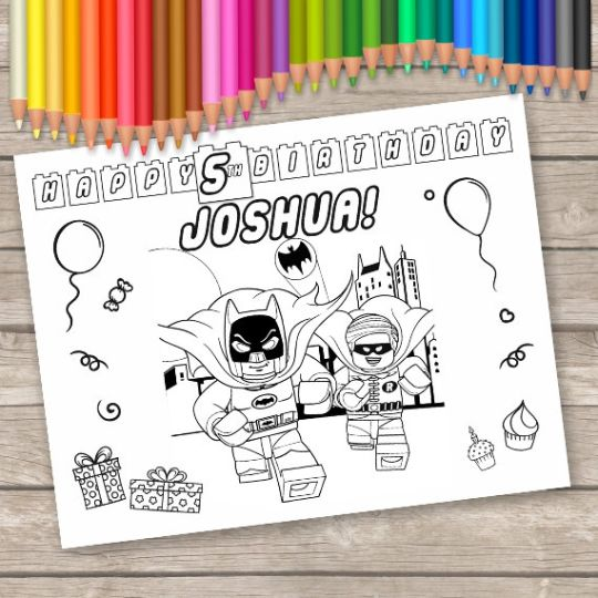 Batman Party Favor Personalized coloring pages activity  Customizable  Print at home, online or at a print shop.  Perfect to keep children of all ages entertained.  Perfect for Birthday party favors, or other events.  Includes a total of 6 colo...