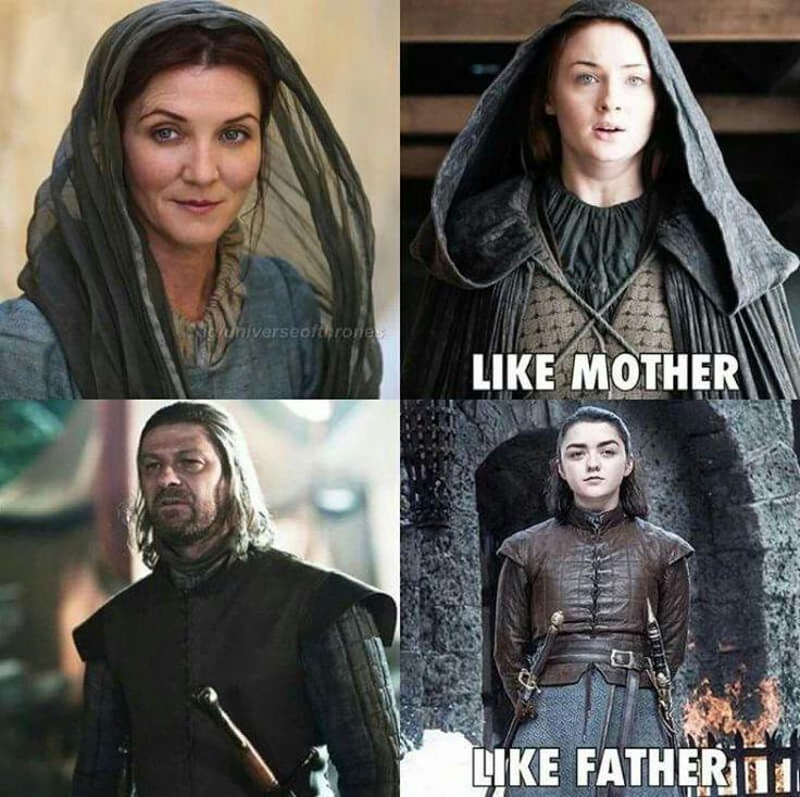 Game of thrones season 7 funny humour meme. House Stark, Sansa Stark, Arya Stark, Ned Stark, Catelyn Stark. Maisie Williams, Sophie Turner, Sean Bean