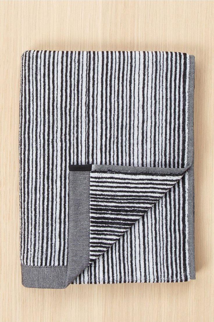 Marimekko Towel Varvunraita, 50x100 cm - Black - Home & Decor - Ellos.no