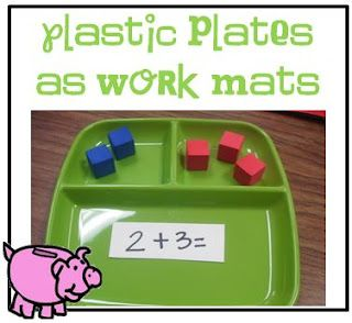 Use a plate for work mats in math.  Little Minds at Work: Fabulous Dollar Store Finds!!