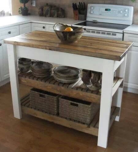 Pallet kitchen island - lower shelf than this one, hanging pots/pans from underneath the table top. Painted white or hunter green is my idea though.