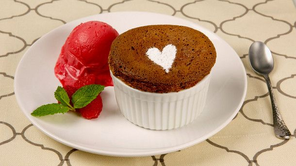 Win the heart of your Valentine with this Chocolate Souffle for Two.