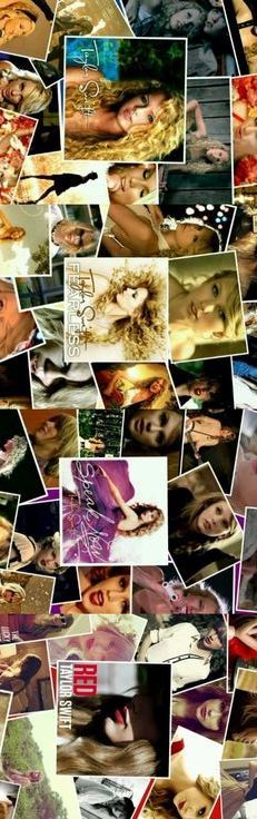 Taylor Swift, Fearless, Speak Now, and Red. Photos from her album booklets and music videos. This is really cool!
