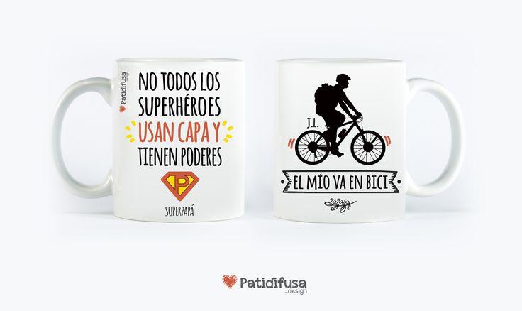 """Taza personalizada para un padre con súper poderes. """"No todos los superhéroes usan capa y tienen poderes, el mío va en bici"""" #taza #díadelpadre #felicidadespapa"""