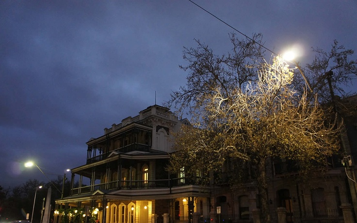 A night-time shot of the Botanic Bar in Adelaide...