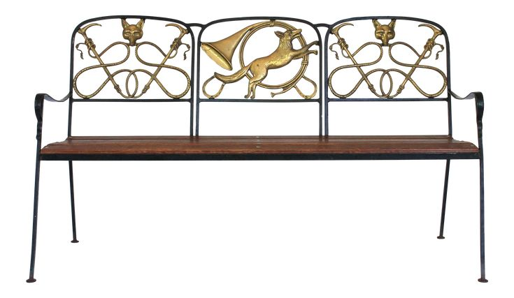 Fox Hound Wrought Iron And Brass Bench Wrought Iron Bench The