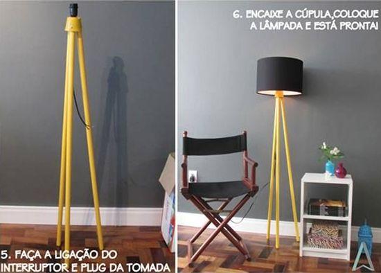 Luminária feita com cabos de vassoura