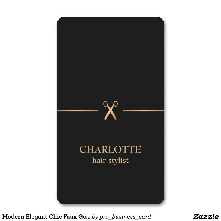 Modern Elegant Chic Faux Gold Black Hair Stylist Business Card