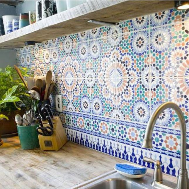 Aren't these colorful kitchen tiles gorgeous?