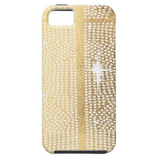 Brilliant White Studs on Gold Leather Look iPhone 5 Covers