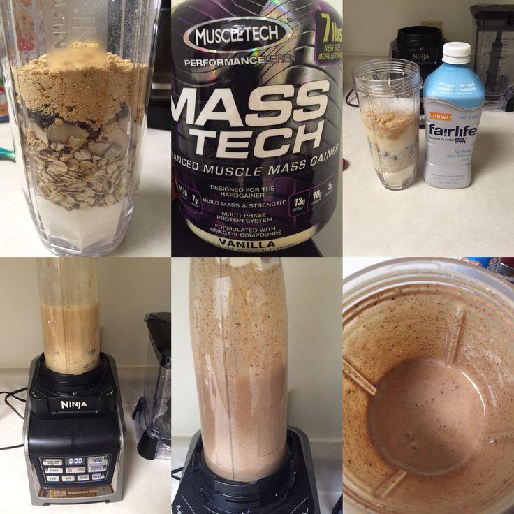 """Protein Shake """"LA BOMBA"""" 1; 2 scoops de proteína (ganador de peso) la marque que te guste (sabor vainilla)  2; 1 taza de avena   3; media taza de almendras  4; media taza de crema de cacahuate{ (si es en polvo mejor) se consigue es usa puede ser HEB sams o walamrt }  5; media taza de chispas de chocolate semi dulce (amargo)  6; leche ligth una raza  7; una taza de agua   8 ; hacer un mix en licuadora ( si es ninja mejor )  9 ; disfrutar este delicioso protein Shake !!!  Comparte si te gusto…"""