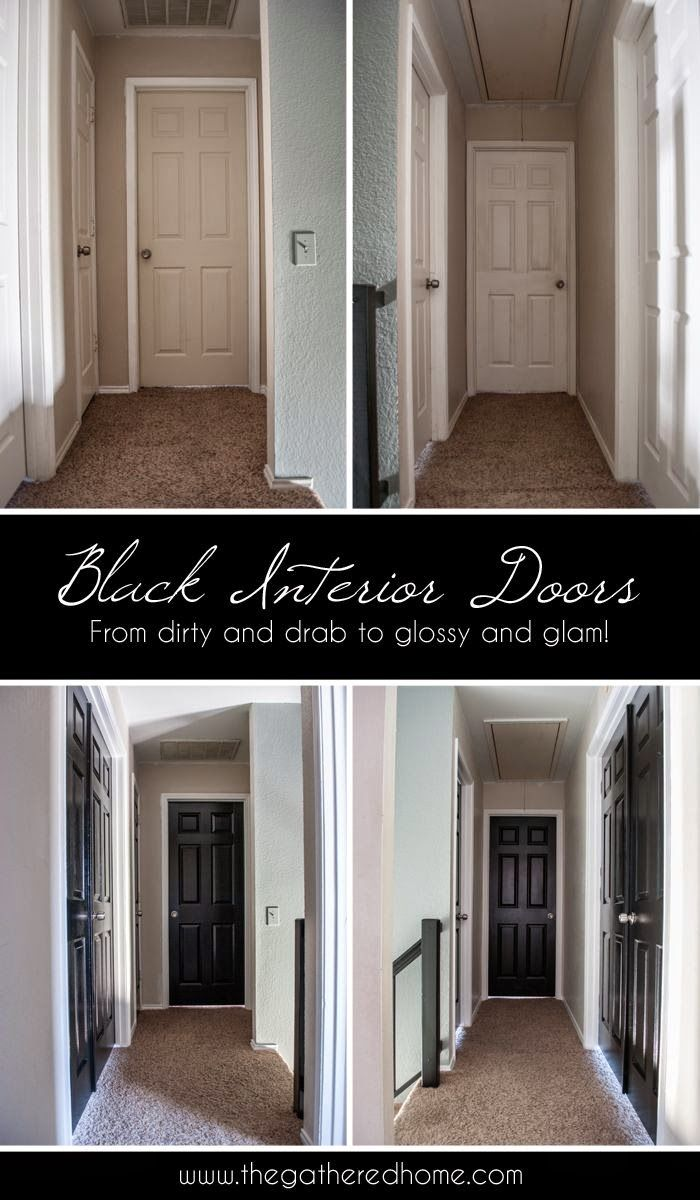 PINNED 98,400 times: Black Interior Doors - a simple DIY project with dramatic results!