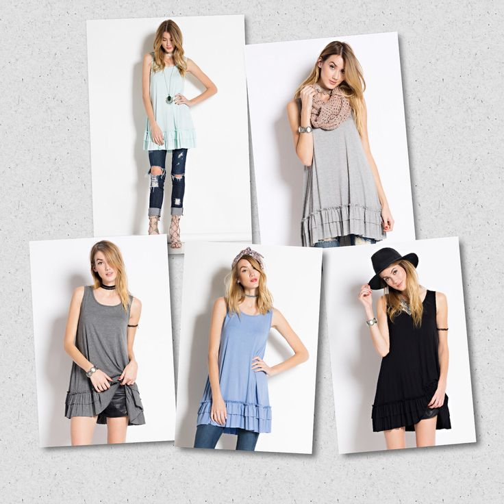 Top extenders or wear with with a cardi.  Love the ruffle bottom.  Dark grey, light grey, light blue, oatmeal, black. https://www.facebook.com/kleeboutique/