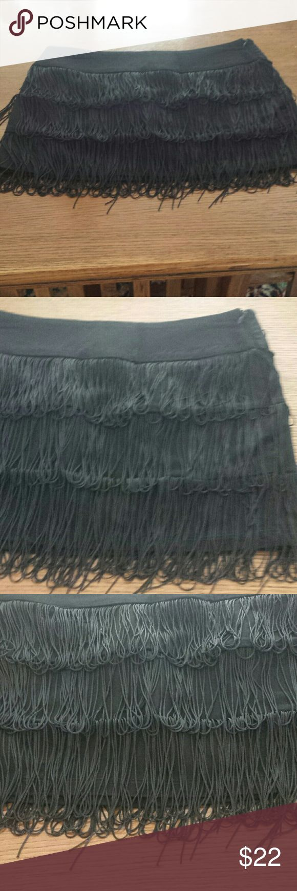 Mini Skirt  JRS Black with 3 rows of silky thread fringes.  98% cotton 2% spandex  Side zipper Body Central Skirts Mini