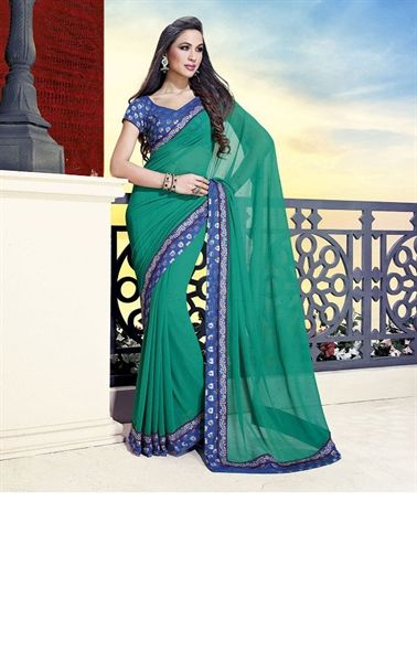 Picture of Royal Green Color Indian Georgette Sarees Online