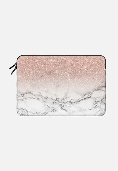 Modern rose gold foil glitter ombre white marble color block by Girly Trend Macbook Air 13 sleeve by Girly Trend | Casetify
