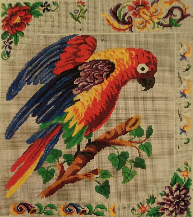 A Vibrant Berlin WoolWork Parrot Pattern Published In Magasin Des Demoiselles In Paris