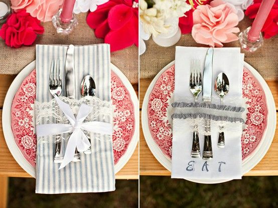 Cute idea to hold silverware and napkins