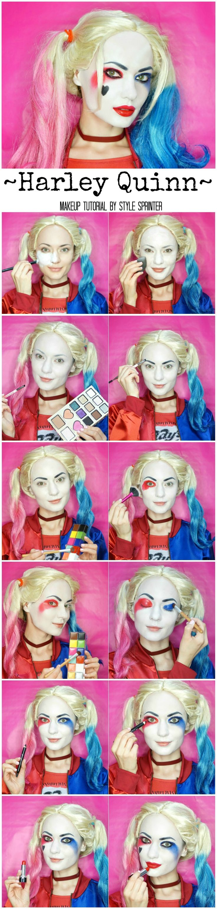 Harley Quinn Makeup Tutorial http://stylesprinter.com/harley-quinn-makeup-tutorial/ @SuicideSquadWB #SuicideSquad