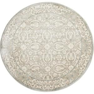Nourison Euphoria Grey 3 ft. 4 in. Round Area Rug-366382 - The Home Depot