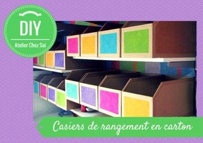 fiche creative : casier de rangement en carton ondulé - DIY Atelier chez soi