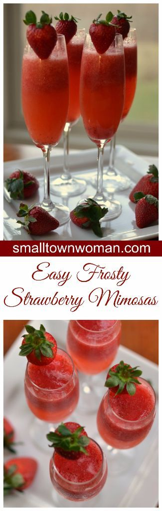 These Easy Frosty Strawberry Mimosas will come in handy for your Easter celebration, birthday party or neighborhood soiree.