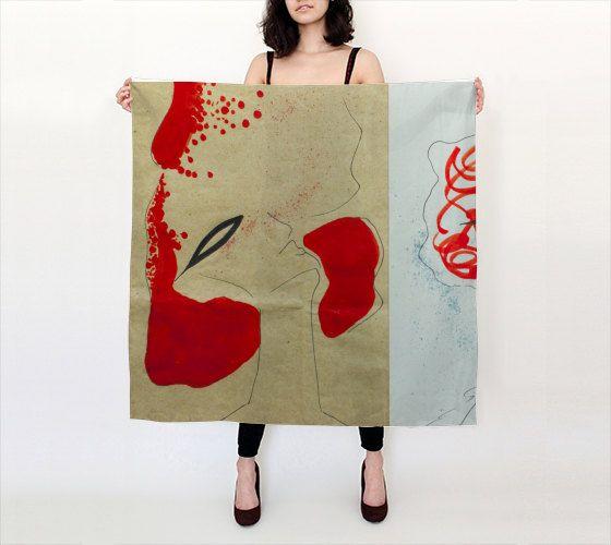 Cream Casati 36 X 36 Square Silk Scarf by LOVEMIZU on Etsy